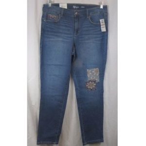 Style & Co Sunnyvale Embroidered Ankle Jeans 12